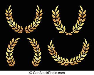 złoty, nagroda, laurels