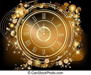 złoty, nowy rok, tło, szczęśliwy