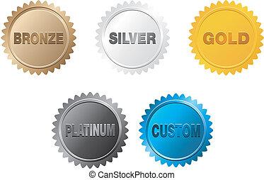 złoty, odznaka, srebro, platyna, brąz