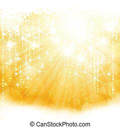 złoty, pękać, lekki, abstrakcyjny, iskrzasty, światła, gwiazdy, mglisto