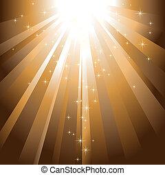 złoty, pękać, lekki, iskrzasty, zstępny, gwiazdy