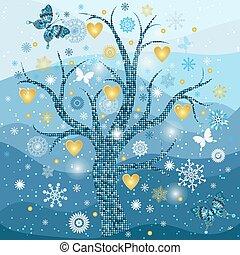 złoty, płatki śniegu, ułożyć, drzewo, serca, zima