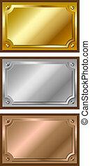 złoty, płyty, srebro, brąz