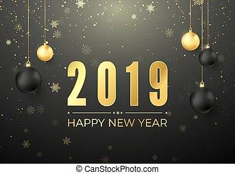 złoty, piłki, element., powitanie, ilustracja, ozdoba, wektor, czarnoskóry, takty muzyczne, rok, nowy, 2019., kartka na boże narodzenie, szczęśliwy