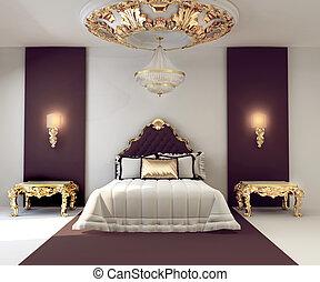 złoty, podwójny, królewski, luksus, sypialnia, wewnętrzny, meble