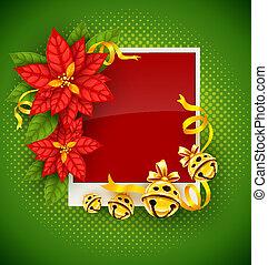 złoty, powitanie, poinsettia, dźwięczenie, kwiaty, kartka na boże narodzenie, ryczy