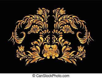 złoty, próbka, wektor