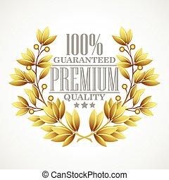 złoty, premia, ilustracja, wektor, wreath., laur, jakość