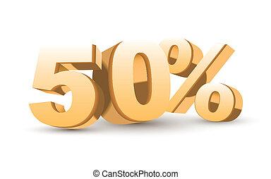 złoty, procent, -, 50, zbiór, dyskonto, błyszczący, 3d