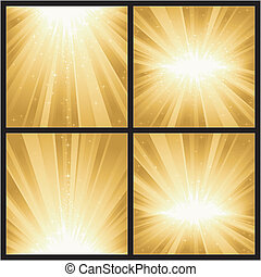 złoty, różny, magia, podobny, godowe światło, wielki, boże narodzenie, stars., wysadza, 4, years., tematy, nowy, albo