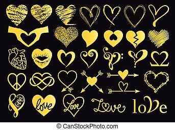 złoty, ręka, serca, wektor, pociągnięty, komplet