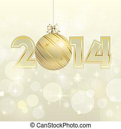 złoty, rok, wektor, nowy, 2014, chorągiew