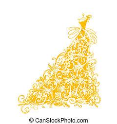 złoty, rys, ozdoba, projektować, kwiatowy strój, twój