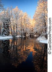 złoty, rzeka, zachód słońca, zima