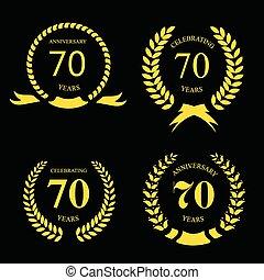 złoty, siedemdziesiąt, wektor, czarnoskóry, znaki, laur, rocznica, komplet, lata, ilustracja, tło.