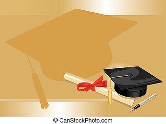 złoty, stopień, uniwersytet, powitanie, kolegium, karta
