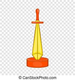 złoty, styl, nagroda, miecz, ikona, rysunek