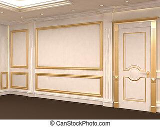 złoty, sufit, ścienna budowa, museum., space., luksusowy, gallery., zbudowanie, interior., biały, opróżniać