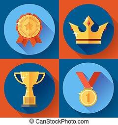 złoty, symbolika, korona, mistrz, filiżanka, medal, ikona, płaski, komplet, badge., zwycięstwo, design.