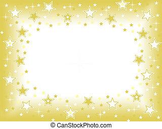 złoty, tło, gwiazda