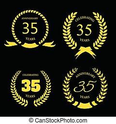 złoty, trzydzieści, laur, rocznica, komplet, lata, piątka, wieniec