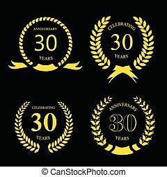 złoty, trzydzieści, laur, rocznica, komplet, lata, wieniec