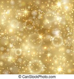 złoty, twinkly, gwiazdy, tło, światła