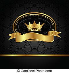 złoty, ułożyć, królewski, tło