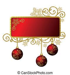 złoty, &, ułożyć, odizolowany, boże narodzenie, czerwony