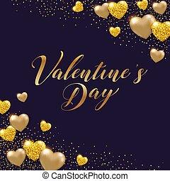 złoty, valentine, tło, serca