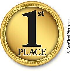 złoty, wektor, 1 miejsce, medal, ilustracja