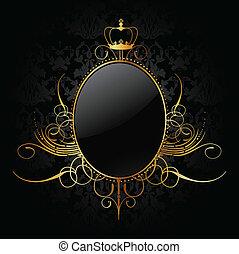 złoty, wektor, królewski, frame., tło