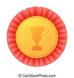 złoty, wektor, medal