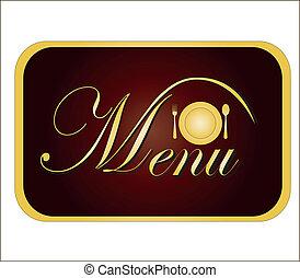 złoty, wektor, menu., karta, ilustracja