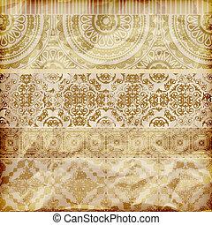 złoty, wektor, papier, brzegi, kwiatowy, struktura, zmięty, seamless, folia