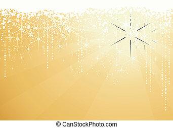 złoty, wielki, occasions., gwiazdy, świąteczny, iskrzasty, lata, tło., tło, nowy, albo, boże narodzenie