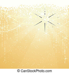 złoty, wielki, occasions., gwiazdy, świąteczny, iskrzasty, lata, tło., tło, nowy, albo, szczególny, boże narodzenie