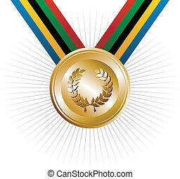 złoty, wieniec, igrzyska, laur, olimpiady, medal