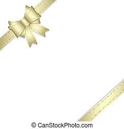 złoty, wstążka, odizolowany, łuk daru