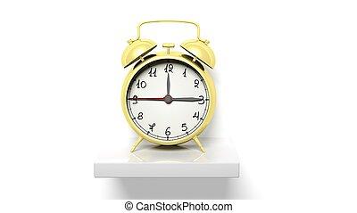 złoty, zegar, ściana, półka, alarm, retro, biały