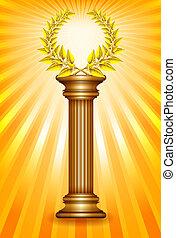 złoty, zwycięzca, kolumna, wieniec, nagroda, laur