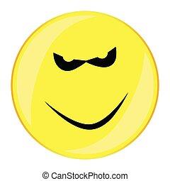 zły, odizolowany, uśmiech, twarz, guzik