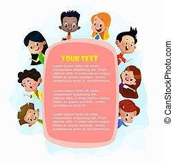 za, plakat, ilustracja, podglądający, różowy, dzieciaki