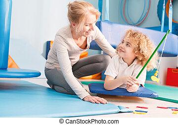zabawa, chłopiec, terapia, posiadanie, podczas