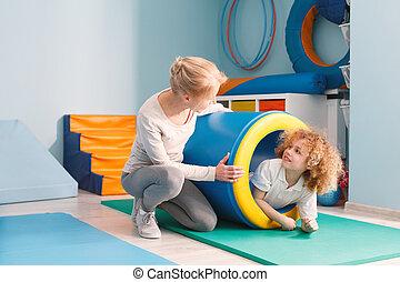 zabawa, chłopiec, tunel, posiadanie