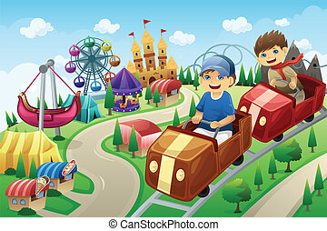 zabawa, dzieciaki, park, posiadanie, rozrywka