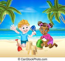 zabawa, dzieciaki, plaża, posiadanie, rysunek