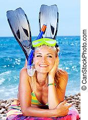zabawa, lato, plaża