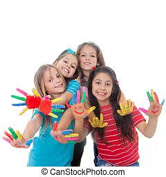 zabawa, malować, dzieci