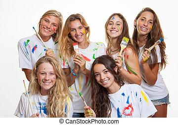 zabawa, malować, grupa, nastolatki, posiadanie